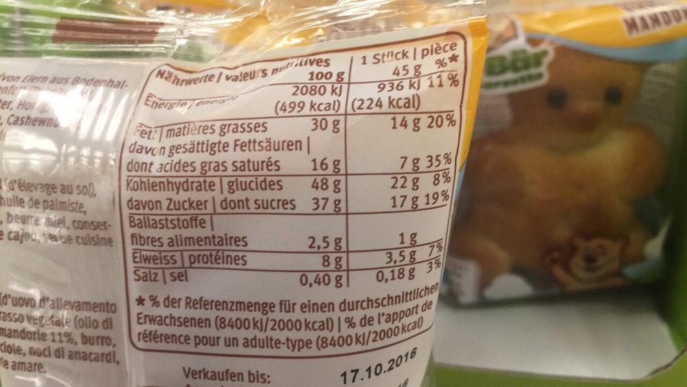Moo Bar Amande - Informations nutritionnelles