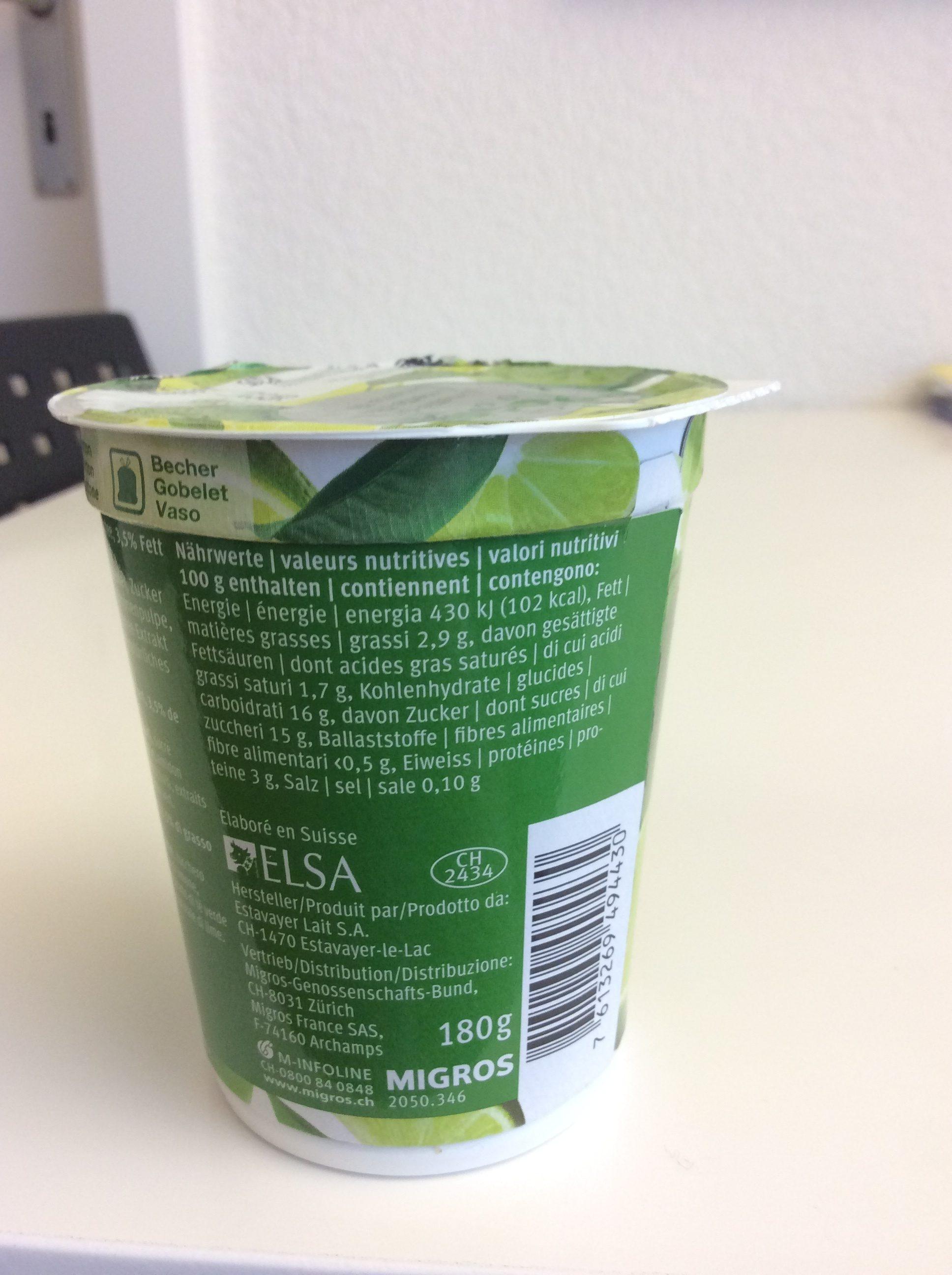 Passion Joghurt Limette-Thé vert - Nutrition facts - fr