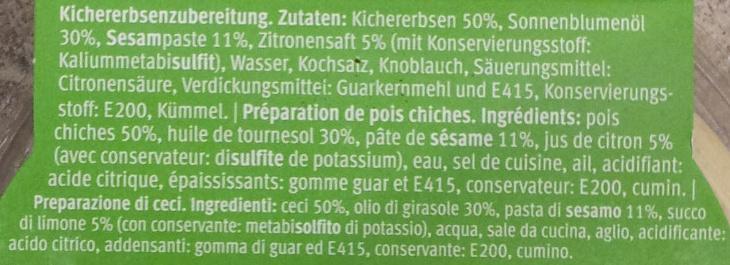 Hummus Nature - Ingredients - fr