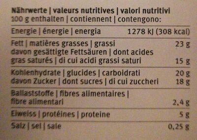 MOUSSE AU CHOCOLAT - Informazioni nutrizionali