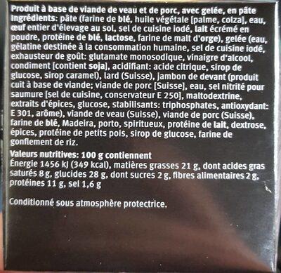 Pâté Vaudois - Nutrition facts