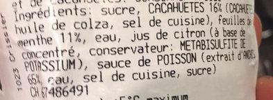Sauce Menthe et Cacahuètes - Ingrédients - fr
