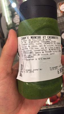 Sauce Menthe et Cacahuètes - Informations nutritionnelles - fr