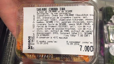 Salade Chuka Ika - Informations nutritionnelles