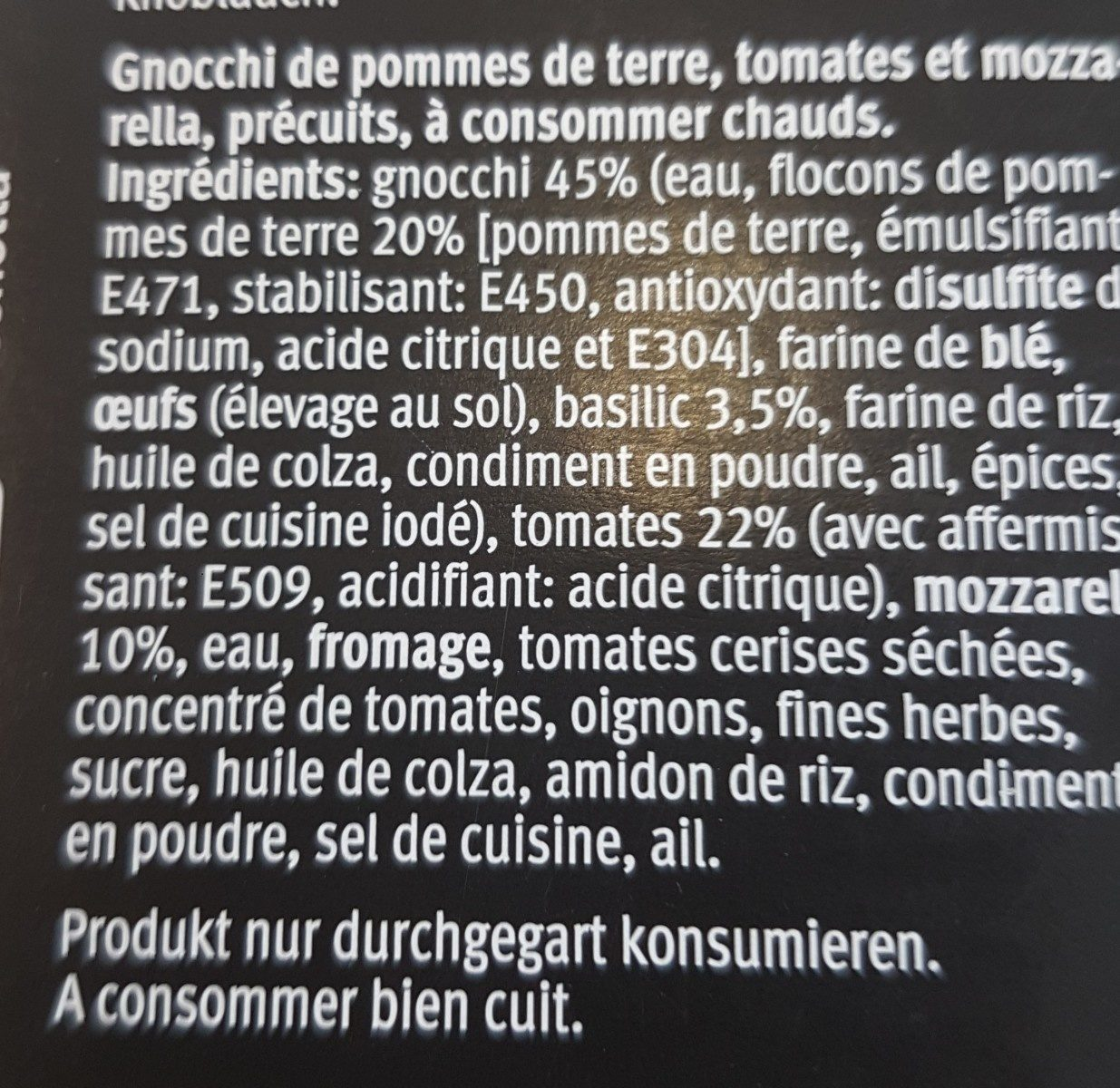 Gnocchi alors basilic con pomodorini e mozzarella - Ingrédients - fr