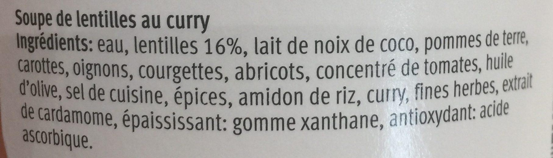 Soupe lentille curry - Ingrediënten - fr