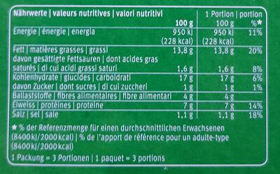 Vegane Bâtonnets croquants mode marine - Nutrition facts