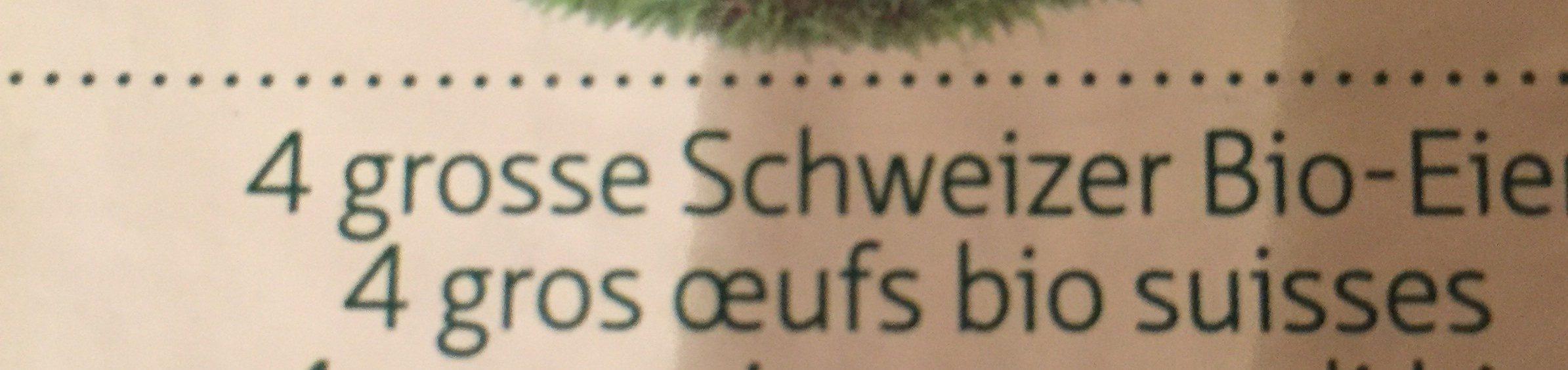 4 gros oeufs bio suisses - Ingredients - fr