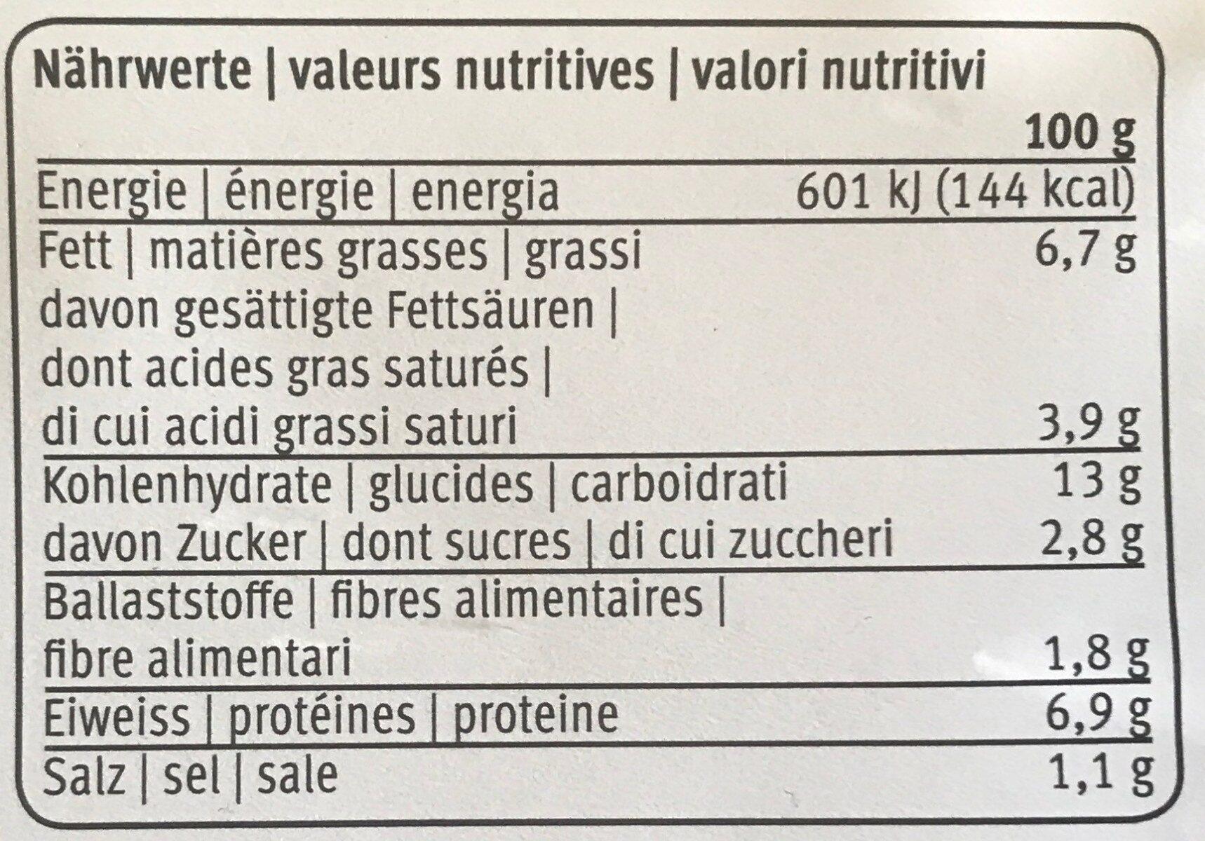 Lasagne forentina - Valori nutrizionali - fr