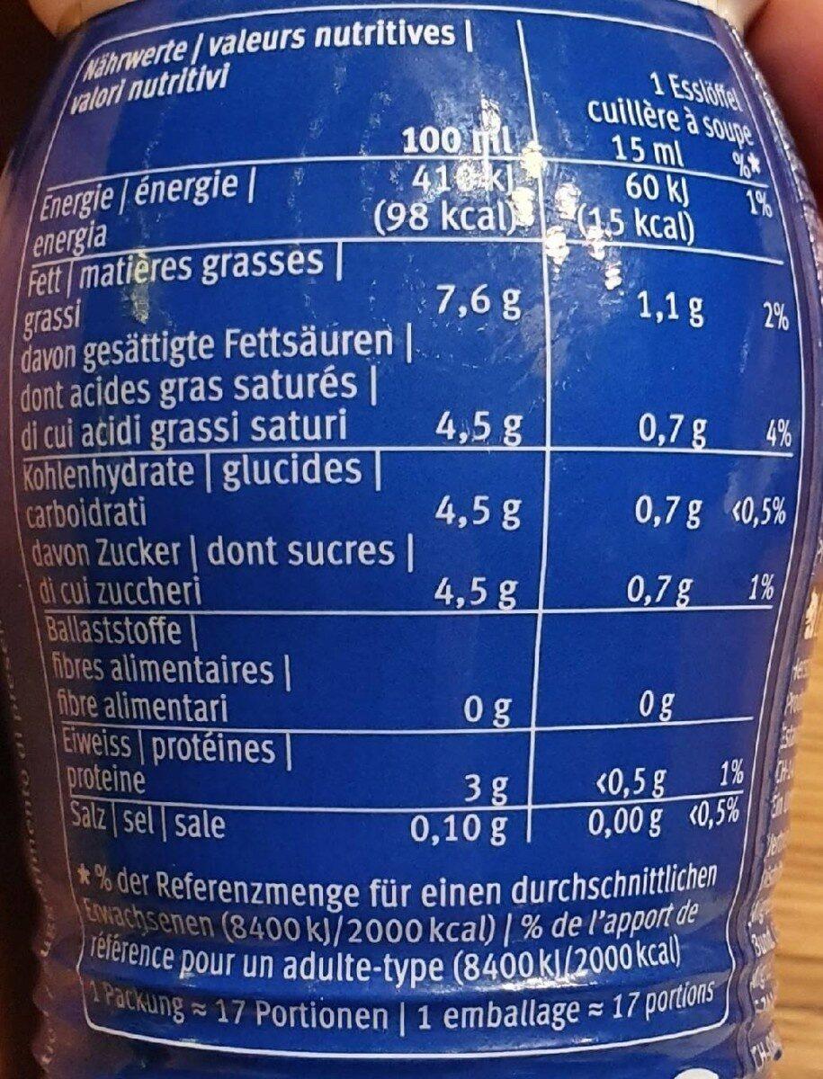 COFFEE MILK - Valori nutrizionali - en
