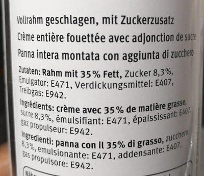 Crème fouettée - Ingredients