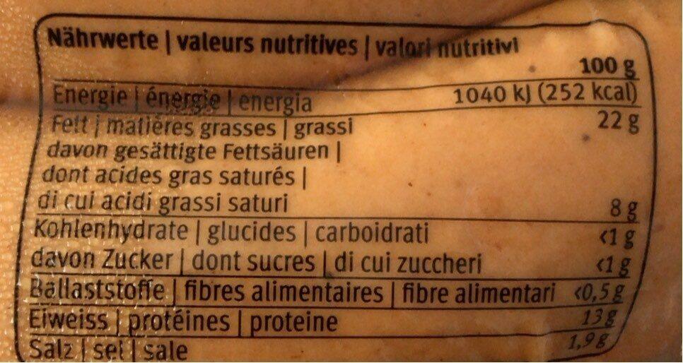 Cervelas - Informations nutritionnelles - fr