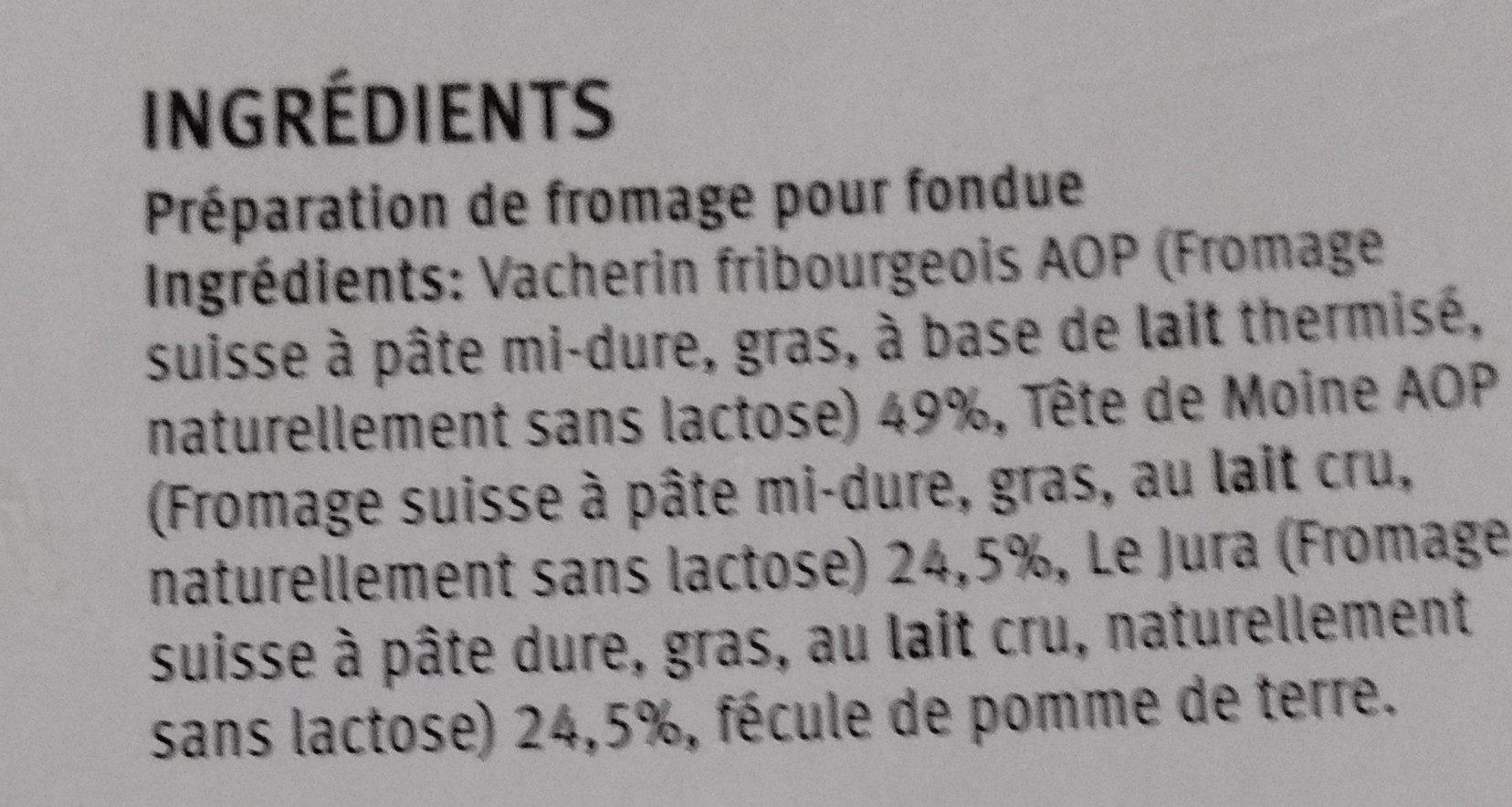 Fondue Jurassiene - Ingredients - fr