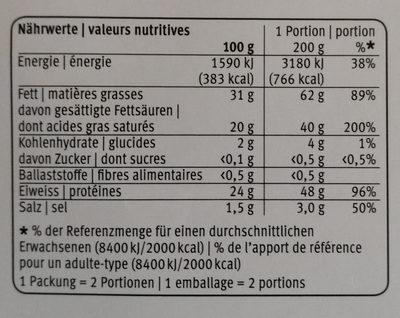Fondue Jurassiene - Nutrition facts - fr