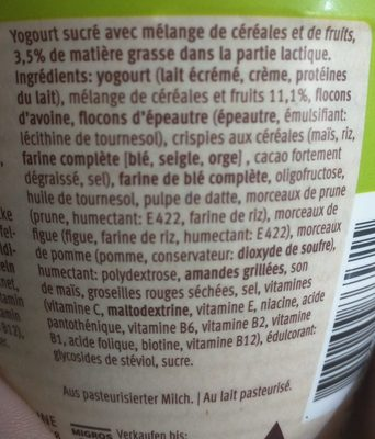 Farmer Plus Crunchy Fibre - Ingredients