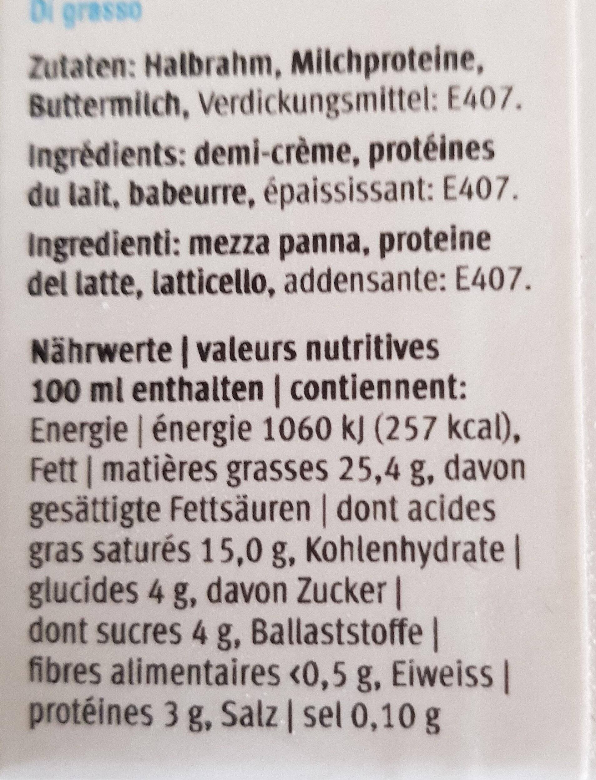 Halbrahm - Ingredienti - fr