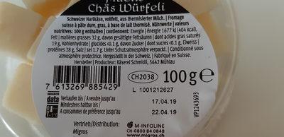 Müetis Chäswürfeli - Inhaltsstoffe