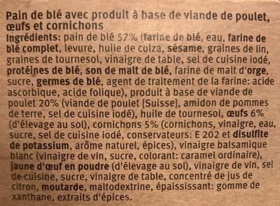Club Sandwich poulet, oeufs - Ingrediënten - fr