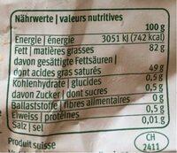 Beurre de choix - Informations nutritionnelles - fr