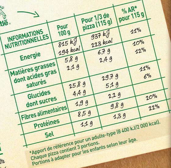 BUITONI FOUR A PIERRE pizza surgelée Bolognese 3X450g (2+1 offerte) - Informations nutritionnelles - fr