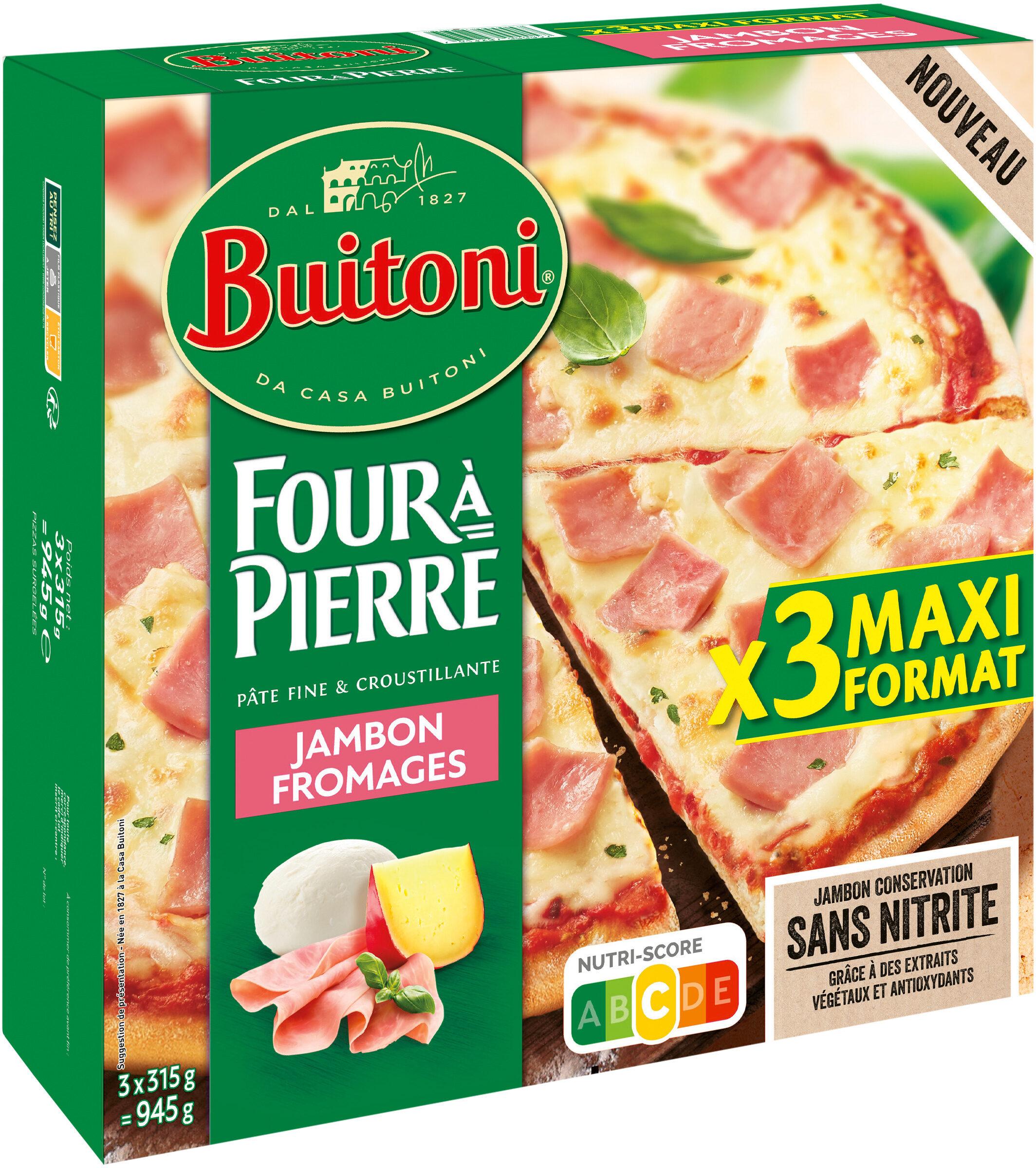 BUITONI FOUR A PIERRE pizza surgelée Jambon Fromages MAXI 3x315g - Produit - fr