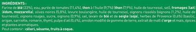 BUITONI FOUR A PIERRE Pizza Surgelée Thon à la Provençale 3 packs x 320g (x3 maxi format) - Ingrédients - fr