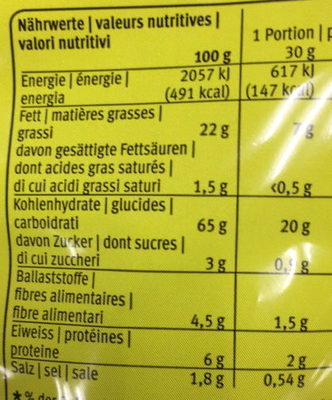 Royal Chips Wasabi - Nutrition facts - fr