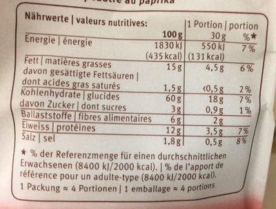 Blévita Mini Paprika - Informations nutritionnelles