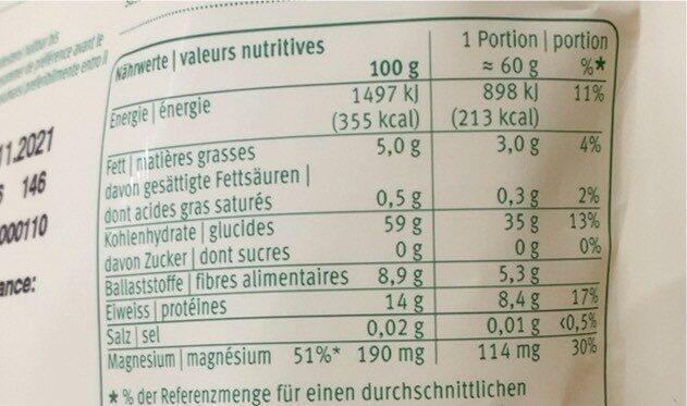 Quinoa Blanc - Informations nutritionnelles - fr