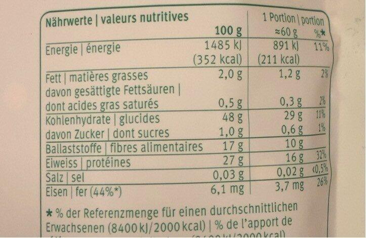 Lentilles rouges - Voedingswaarden - fr