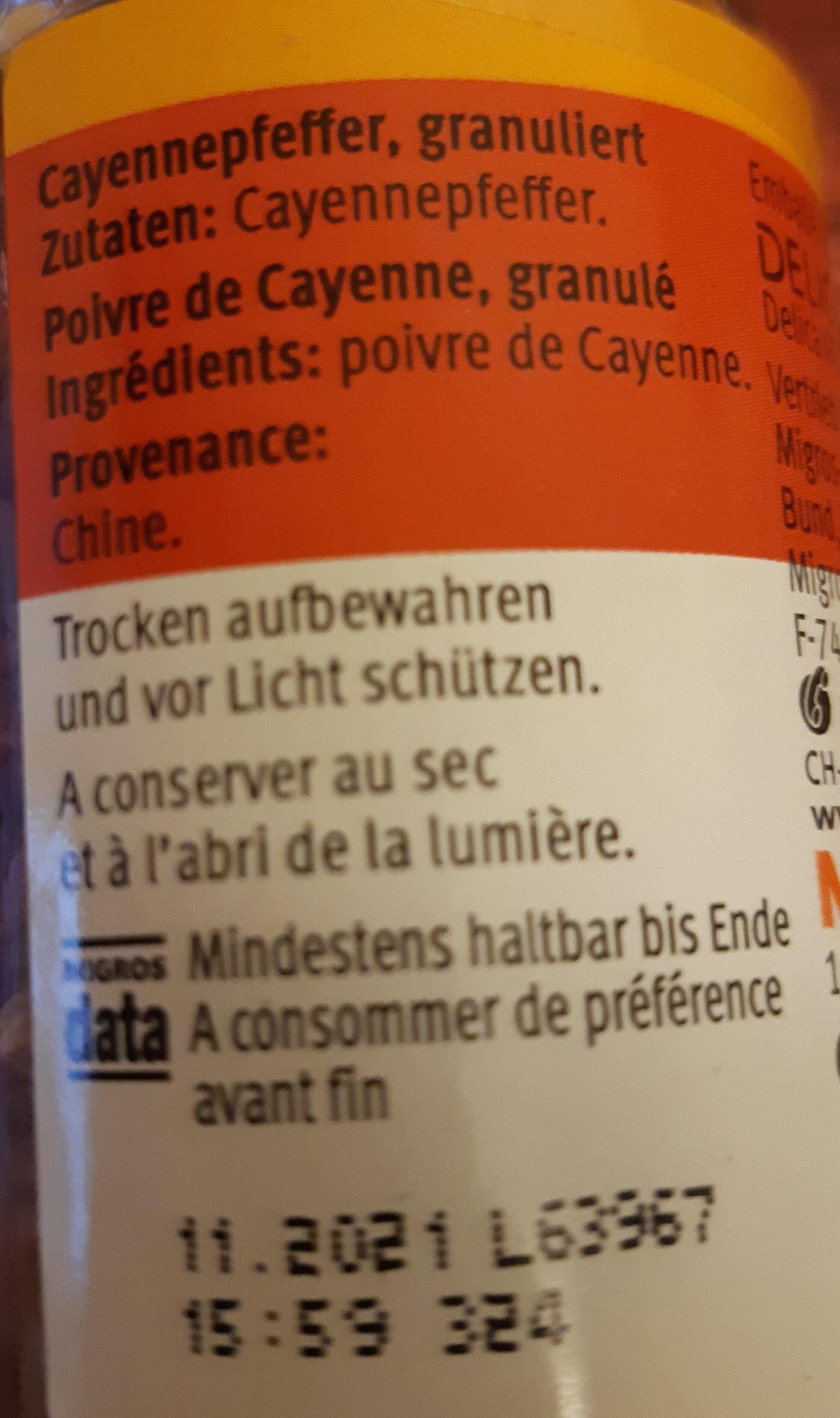 Cayennepfeffer - Ingredienti - fr