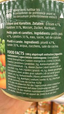Petits pois et carottes fins - Nährwertangaben