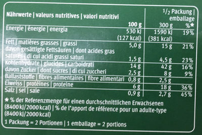 Lasagne verdi - Nutrition facts - fr