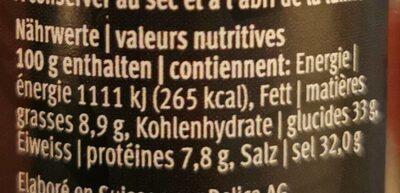 Hot Mix - 61g - Valori nutrizionali - fr