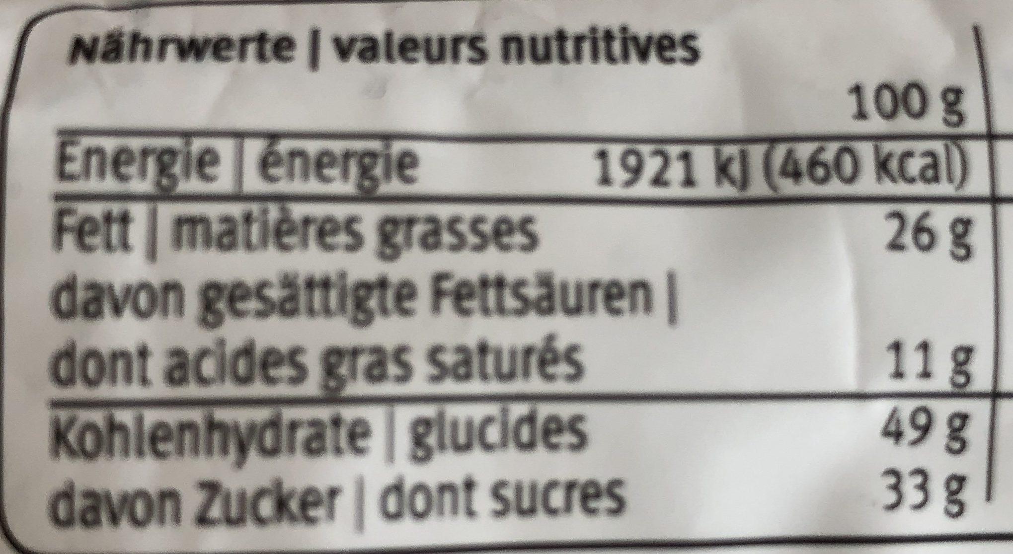 Petit Gâteau au Chocolat - Nutrition facts