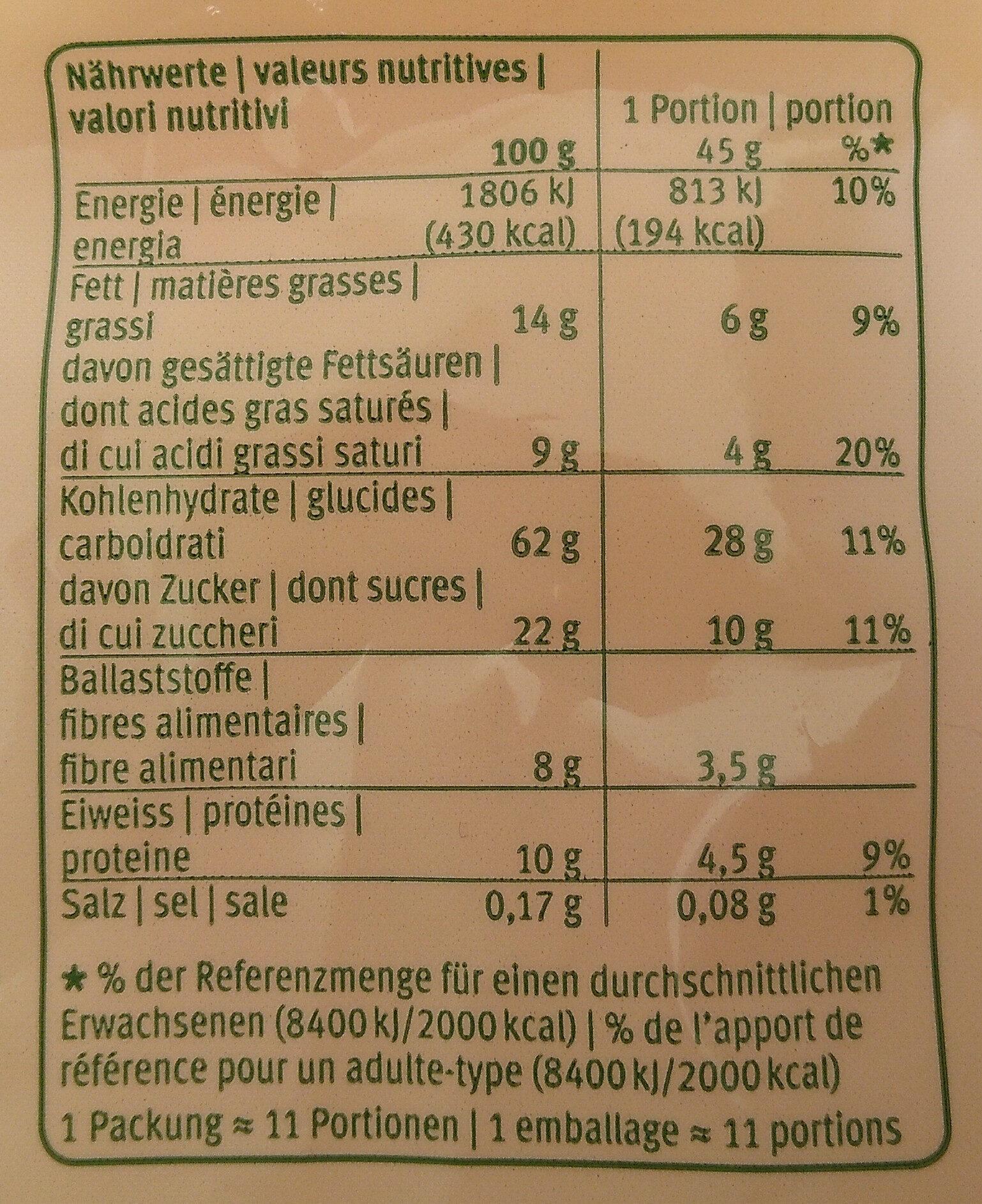 Knuspermüesli mit Waldbeeren - Informazioni nutrizionali - de