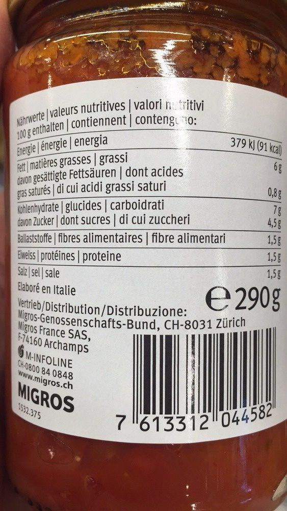 Arrabbiata Sauce Tomate Peperoncino - Nährwertangaben - fr