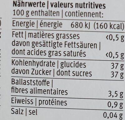 Pâte à tartiner aux fruits - Valori nutrizionali - fr