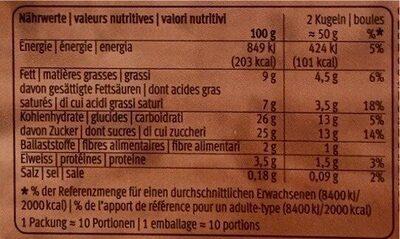 Glace à l'arôme de cacao - Valori nutrizionali - fr