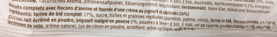 Biscuit Yogourt/Abricot Sandwich - Ingredients - fr