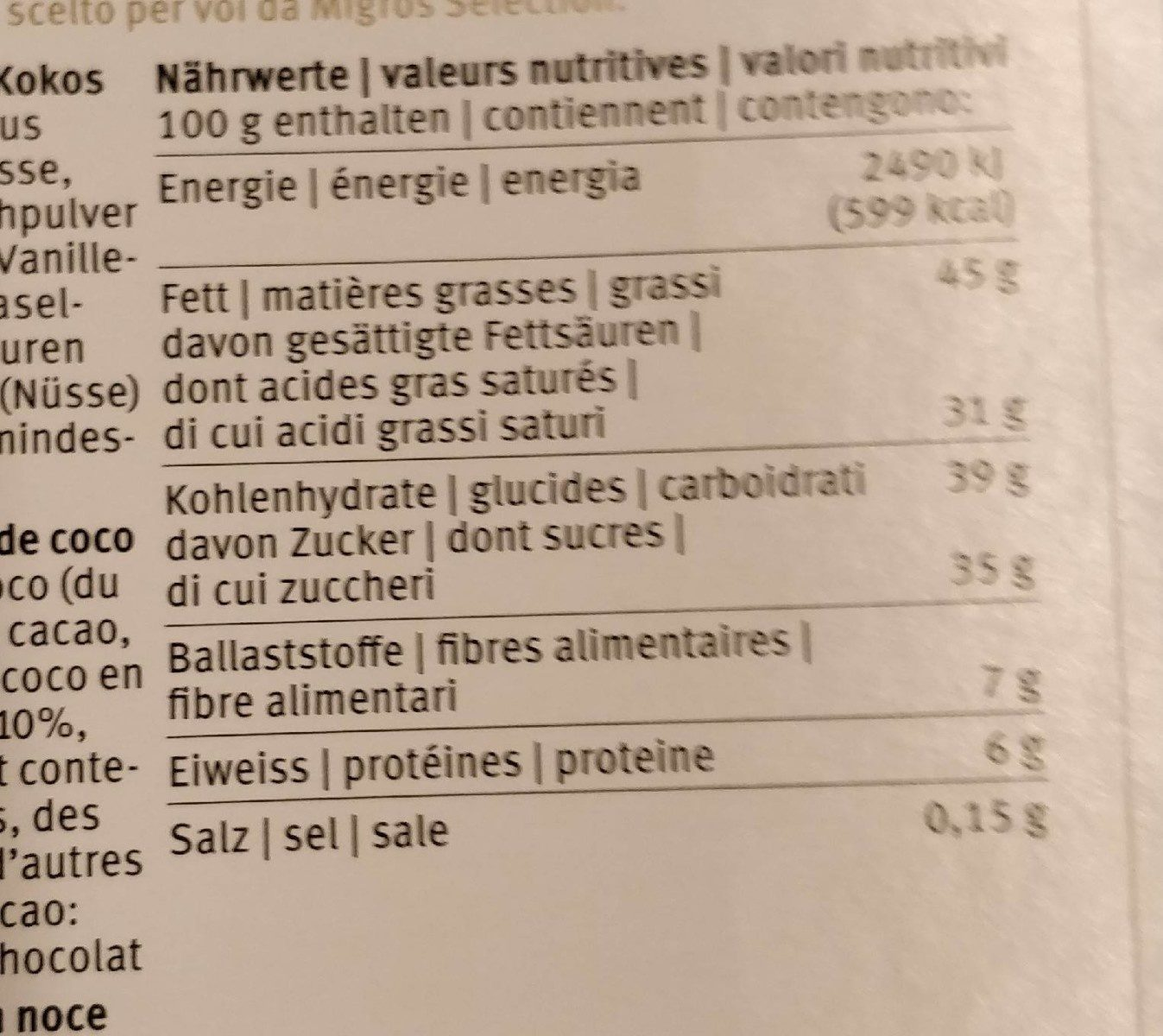 Migros Sélection - Nutrition facts