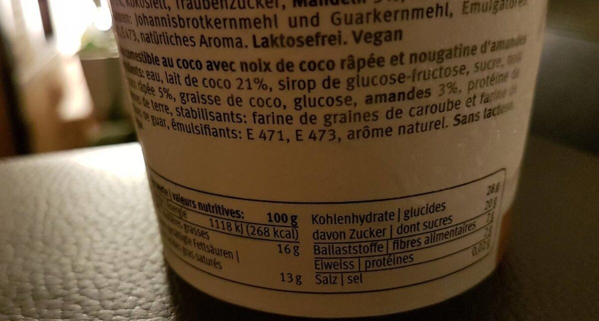 Coco Ice-Land - Informations nutritionnelles