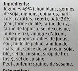 Rouleaux de Printemps aux Légumes - Ingrédients