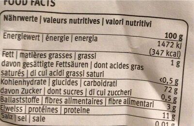 Zopfmehl Aus der Region für die Region - Valori nutrizionali - de