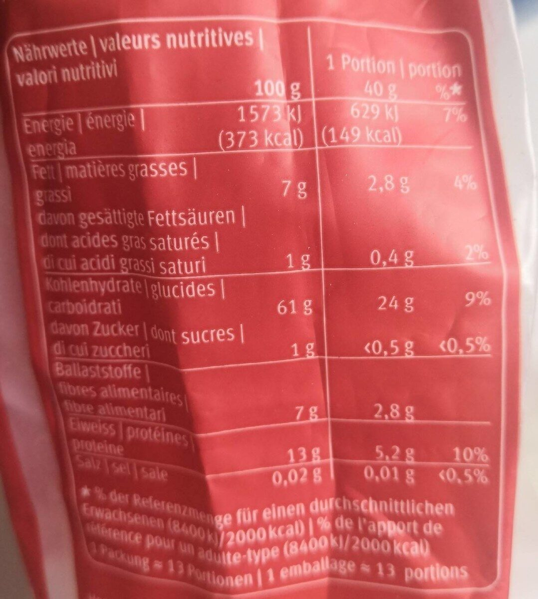 Schweizer Vollkorn Haferflocken - Valori nutrizionali - fr