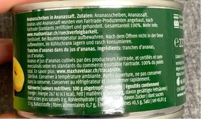 Tranches d'ananas - Informations nutritionnelles - de