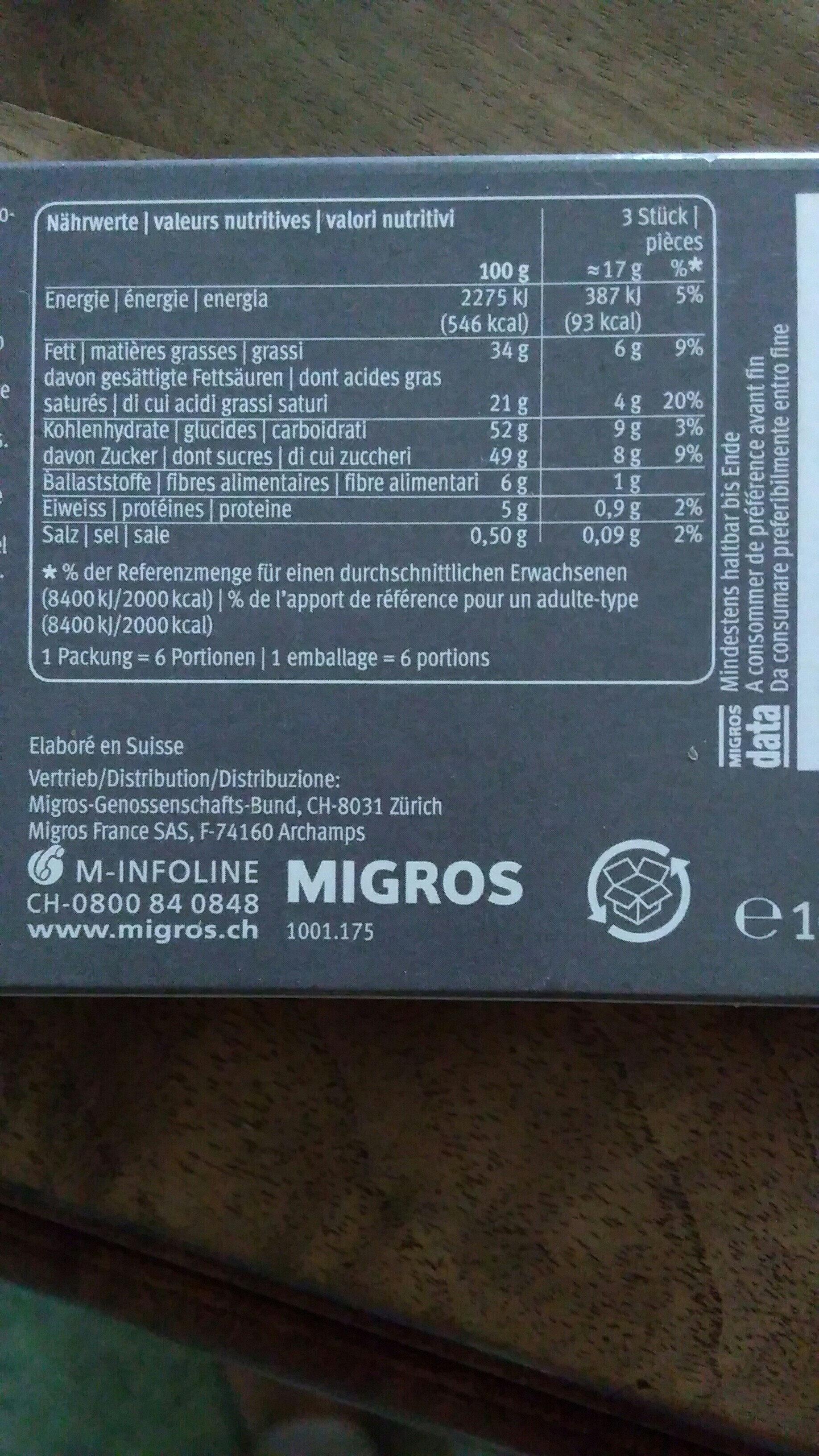 Chocolat noir avec orange sanguine - Nutrition facts