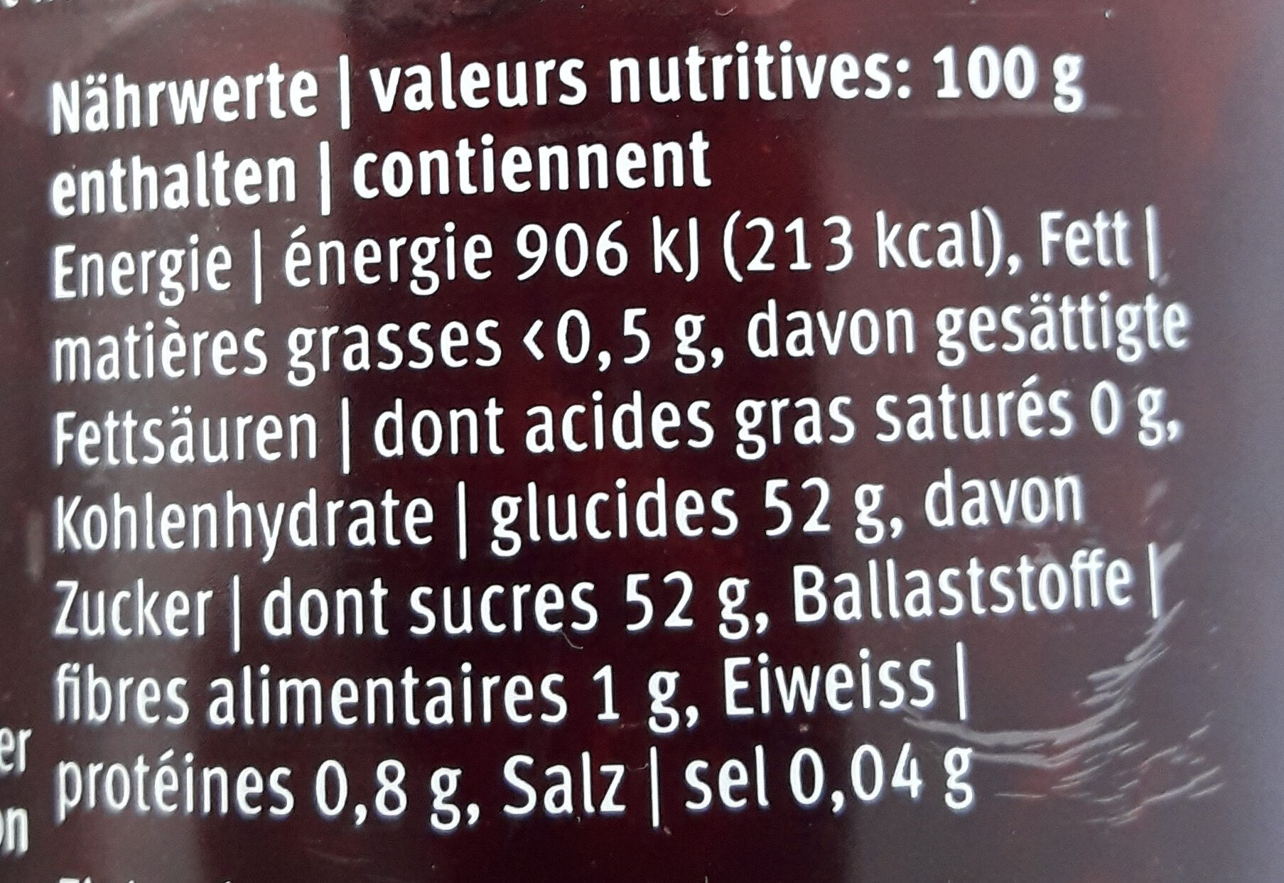 Favorit griottes - Nutrition facts