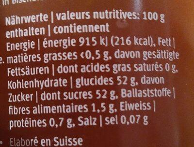 Confiture abricot - Informations nutritionnelles - fr