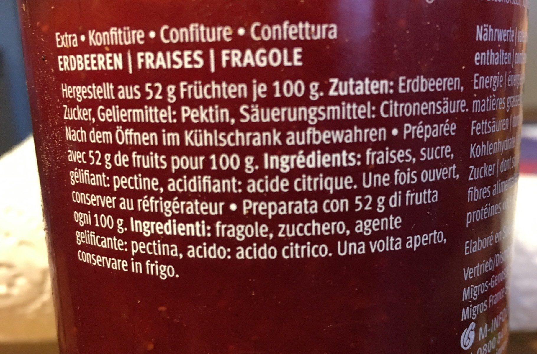 Favorit - Fraises Suisses - Ingredienti - fr